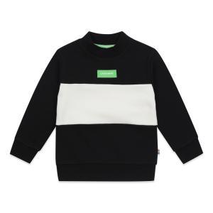 하프넥 컬러블럭 스웨트셔츠