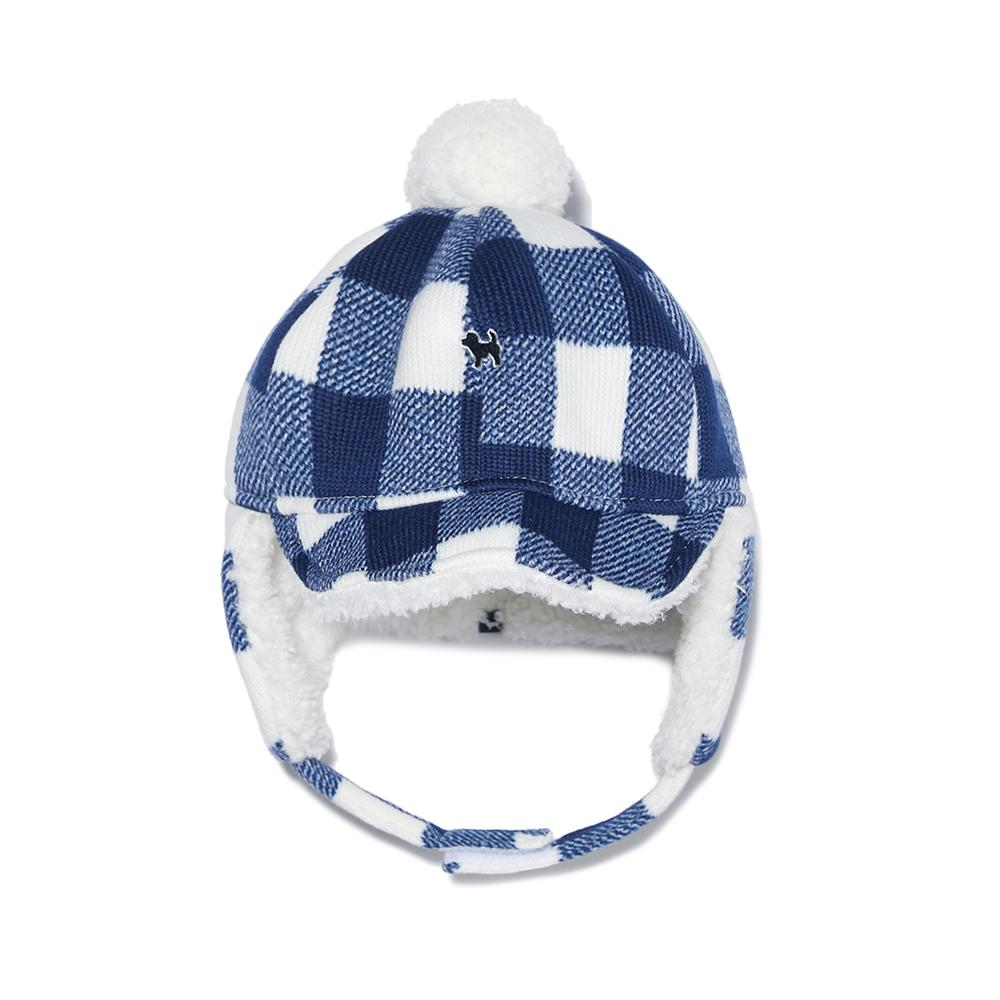 체크 귀덮개 모자